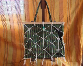 For the beach or shopping tote. Green cloth cord cotton and wood