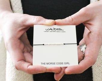 WANDER ||. .| |. |.. . .|. Morse Code Layering Bracelet - Sterling Silver - Black - Simple Jewelry with Secret Message - Wanderlust Jewelry