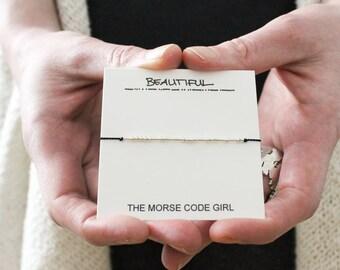 BEAUTIFUL |... . .| ..| | .. ..|. ..| .|.. Morse Code Bracelet - Hidden Message in Sterling Silver - Galentine Jewelry Best Gift For Bestie