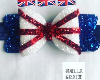 Beautiful handmade Union Jack british glitter bow