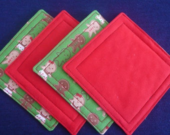 Quilted Coasters for Christmas, Housewarming Gift, Hostess Gift - Green, Red, Gingerbread Men/Women (set of 4)
