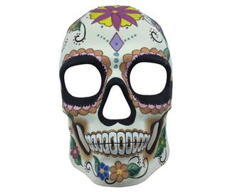Day of the Dead Full Face Skull Mask Floral Flowers Painted Dia de los Muertos