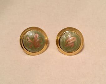 Round Enamel Post Earrings