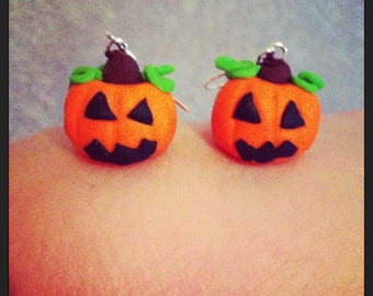 Pumpkin with polymer clay earrings