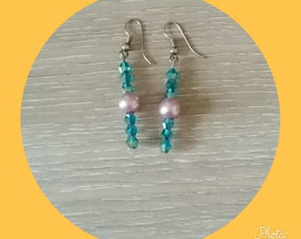 earring with blue bead