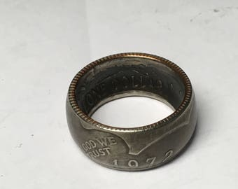 1972 Eisenhower Coin Ring 90% Silver Powdercoated