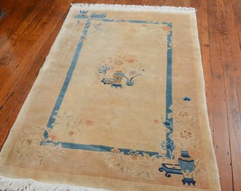 Peking Chinese Oriental Rug, 3'9''x5'10'', Ivory/Rose, All wool pile
