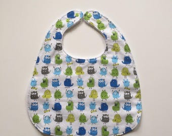 Cotton snap and white Terry bib