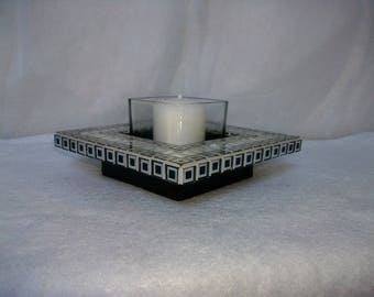 Tealight candle holder black and silver mirror mosaic