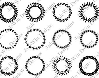 Sale! Laurel Wreath Compilation Clipart - Monogram Frame - Leaf Wreath - SVG + DXF + PNG Files for Silhouette Cameo or Cricut