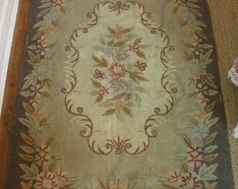 Vintage 1940s Wool Floral Rug 4x6