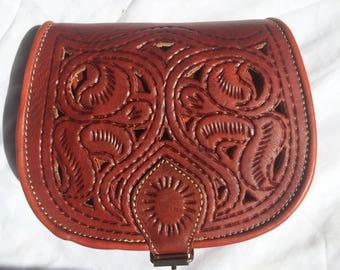 Copper patterned 100% leather color Brown shoulder bag Messenger bag