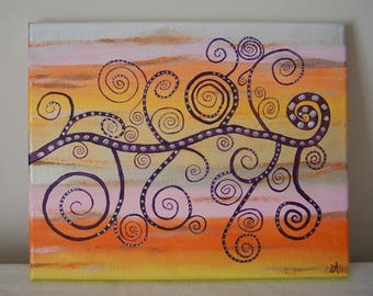 Original acrylic painting: tree of life, decorative pattern