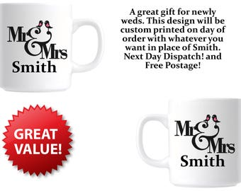 Personalised Wedding Gift Mug For Bride and Groom