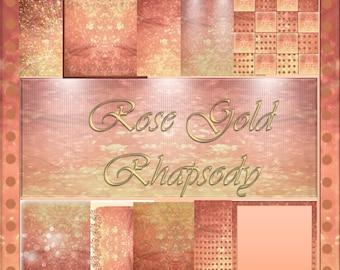 Rose Gold Rhapsody Digital Scrapbook Paper Pack:  10 Unique Sheets