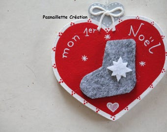 """First Christmas decoration """"Heart"""" (boot)"""