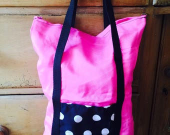 Pink Homemade Handbag with Spotty pocket detail