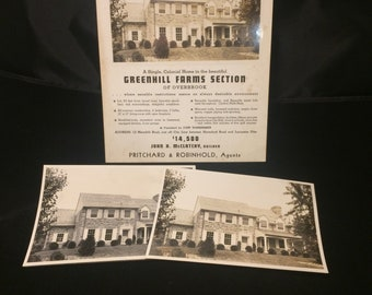 Grouping of 1930s photographs and brochure for new construction Green Hill Farms Philadelphia