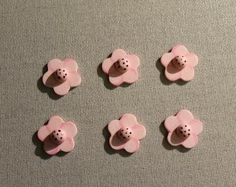 Set of six wooden Flower Pink