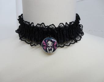 Black Lace Gothic necklace with pendant cabochon