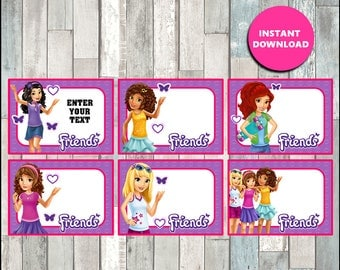 50% OFF Lego Friends Printable Cards, tags, book labels, stickers, kids cards, gift tags, labeling, scrapbooking - type your own text