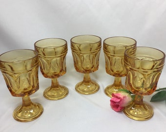 Yellow Goblets Vintage Wine Glasses - set of 5