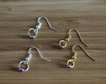Earrings silver and gold minimalist, purple