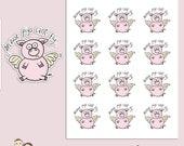 PIG STICKERS | Planner Stickers | Comical | Hand Drawn | Erin Condren | Tn | S125
