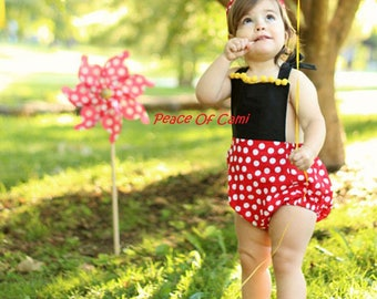 Mickey Mouse Romper and Bow Set - Disney - Baby Girl - Backless - Bow - Outfit Set - Baby girl bodysuit - Minnie Mouse