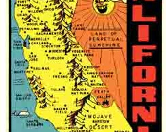 Vintage Style Los Angeles San Diego San Francisco map  Sacramento  California     Travel Decal sticker