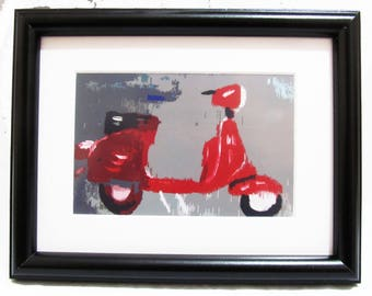 Italian Red Vespa Print with frame of Original Oil Painting