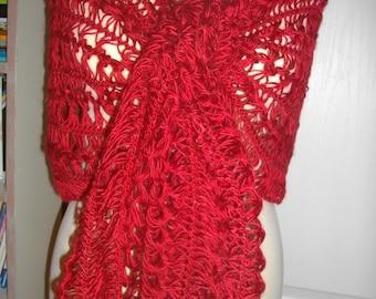 crotch-knitted wool shawl