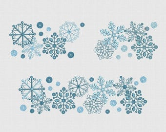 Embroidery Design Snowflakes For Instant Download hoop 5x7 in 18x13  30x18cm ta177b