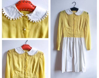 60's Vintage || Dress || Peter Pan Collar || 50's || Yellow || Front Button Dress || Full Skirt || Size S-M