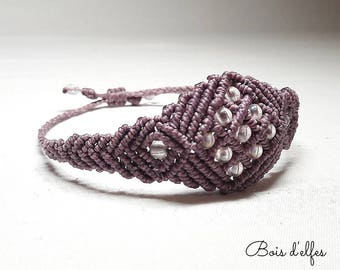 Macrame bracelet purple with pearls