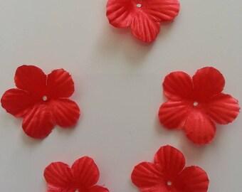 lot de 5 fleurs en tissu rouge 35mm