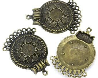 2 big supports ethnic bronze metal connectors