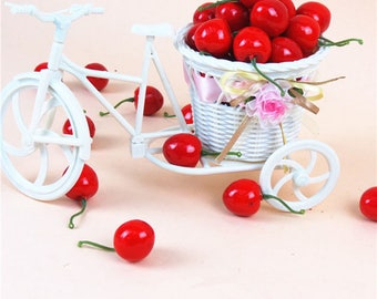 6 large artificial cherry charms