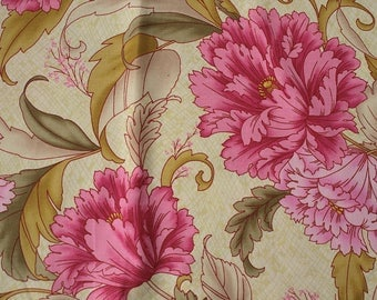 Cotton fabric coupon big flleurs number 2, fuschia, pink, Khaki green on soft green background - 113cm x 50cm - accessories fashion clothing