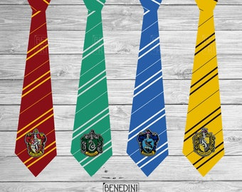 Gryffindor, Slytherin, Hufflepuff, Ravenclaw Ties Party | Harry Potter | Hogwarts House Ties | Printable | Digital Download | 8.5x11""