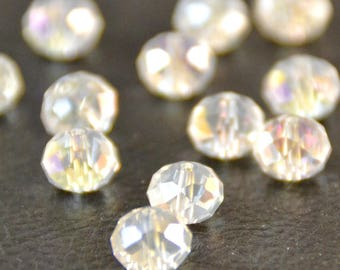 """X 30 large pearls """"plump faceted"""", white transparent, 1 x 0.7 cm"""