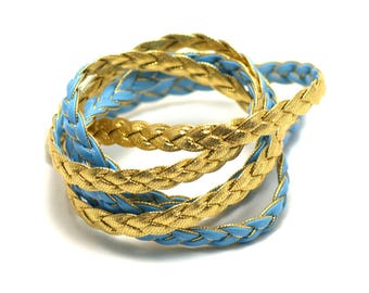 1 m cord strap braided 7 x 2 mm, faux leather, blue sky/gold