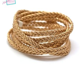 1 m strap braided leather 5 mm, Golden 011