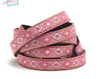 "1 m strap leather 10 x 2 mm ""arabesque"", pink"