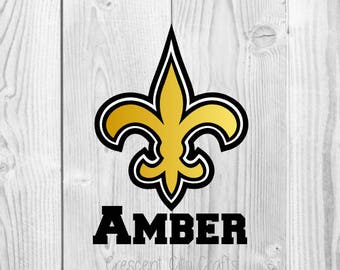 Fleur de lis decal, black and gold decal, name decal, vinyl decal, monogram, yeti, football,