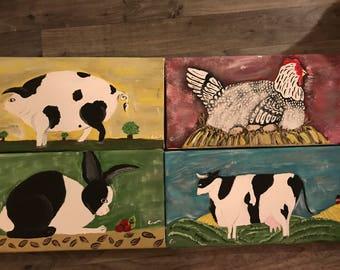 Classic American Folk Art Style Painting