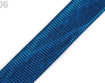 through blue Lurex 15 mm wide