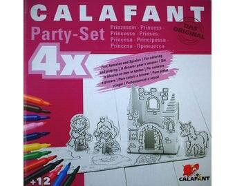 4 sets princesse  en carton à construire et à colorier avec 12 feutres / Kit créatif DIY pour enfant / Coloriage anniversaire enfant