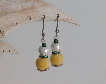 Yellow felt and white ceramic bead earrings