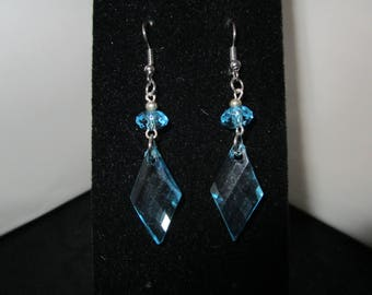 Clear Turquoise  & Silver Earrings